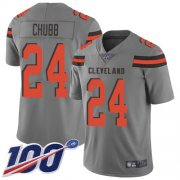 Wholesale Cheap Nike Browns #24 Nick Chubb Gray Men's Stitched NFL Limited Inverted Legend 100th Season Jersey
