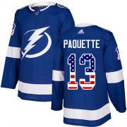 Cheap Adidas Lightning #13 Cedric Paquette Blue Home Authentic USA Flag Youth Stitched NHL Jersey