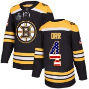 Wholesale Cheap Adidas Bruins #4 Bobby Orr Black Home Authentic USA Flag Stanley Cup Final Bound Stitched NHL Jersey
