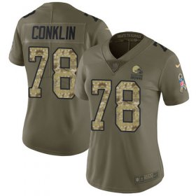 Wholesale Cheap Nike Browns #78 Jack Conklin Olive/Camo Women\'s Stitched NFL Limited 2017 Salute To Service Jersey