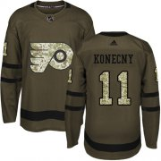 Wholesale Cheap Adidas Flyers #11 Travis Konecny Green Salute to Service Stitched NHL Jersey