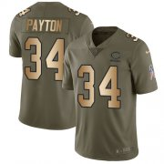 Wholesale Cheap Nike Bears #34 Walter Payton Olive/Gold Men's Stitched NFL Limited 2017 Salute To Service Jersey