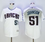 Wholesale Cheap Diamondbacks #51 Randy Johnson White/Capri New Cool Base Stitched MLB Jersey