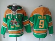 Wholesale Cheap Ducks #9 Paul Kariya Green Sawyer Hooded Sweatshirt Stitched NHL Jersey