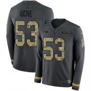Wholesale Cheap Nike Patriots #53 Josh Uche Anthracite Salute to Service Men's Stitched NFL Limited Therma Long Sleeve Jersey
