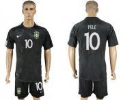 Wholesale Cheap Brazil #10 Pele Black Soccer Country Jersey