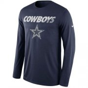 Wholesale Cheap Men's Dallas Cowboys Nike Navy Legend Staff Practice Long Sleeves Performance T-Shirt