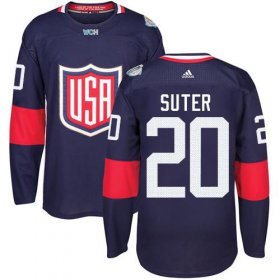 Wholesale Cheap Team USA #20 Ryan Suter Navy Blue 2016 World Cup Stitched NHL Jersey