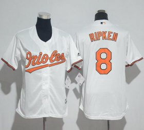 Wholesale Cheap Orioles #8 Cal Ripken White Home Women\'s Stitched MLB Jersey