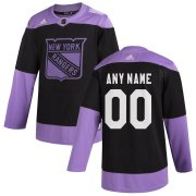 Wholesale Cheap New York Rangers Adidas Hockey Fights Cancer Custom Practice Jersey Black