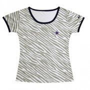 Wholesale Cheap Women's Nike Dallas Cowboys Chest Embroidered Logo Zebra Stripes T-Shirt