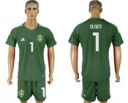 Wholesale Cheap Sweden #1 Olsen Green Goalkeeper Soccer Country Jersey