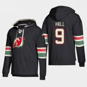 Wholesale Cheap New Jersey Devils #9 Taylor Hall Black adidas Lace-Up Pullover Hoodie