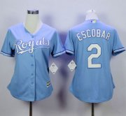 Wholesale Cheap Royals #2 Alcides Escobar Light Blue Home Women's Stitched MLB Jersey