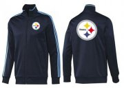 Wholesale Cheap NFL Pittsburgh Steelers Team Logo Jacket Dark Blue