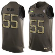 Wholesale Cheap Nike Chargers #55 Junior Seau Green Men's Stitched NFL Limited Salute To Service Tank Top Jersey