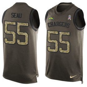 Wholesale Cheap Nike Chargers #55 Junior Seau Green Men\'s Stitched NFL Limited Salute To Service Tank Top Jersey