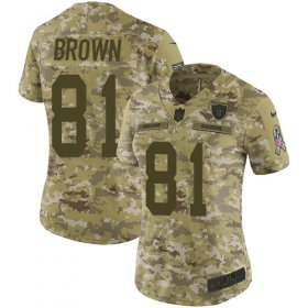 Wholesale Cheap Nike Raiders #81 Tim Brown Camo Women\'s Stitched NFL Limited 2018 Salute to Service Jersey