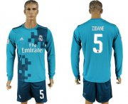 Wholesale Cheap Real Madrid #5 Zidane Sec Away Long Sleeves Soccer Club Jersey