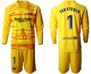 Wholesale Cheap Barcelona #1 Ter Stegen Yellow Goalkeeper Long Sleeves Soccer Club Jersey