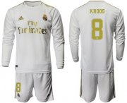 Wholesale Cheap Real Madrid #8 Kroos White Home Long Sleeves Soccer Club Jersey
