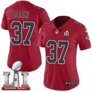Wholesale Cheap Nike Falcons #37 Ricardo Allen Red Super Bowl LI 51 Women's Stitched NFL Limited Rush Jersey
