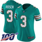 Wholesale Cheap Nike Dolphins #3 Josh Rosen Aqua Green Alternate Women's Stitched NFL 100th Season Vapor Limited Jersey