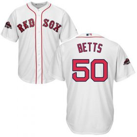 Wholesale Cheap Red Sox #50 Mookie Betts White New Cool Base 2018 World Series Stitched MLB Jersey