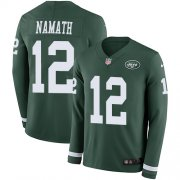 Wholesale Cheap Nike Jets #12 Joe Namath Green Team Color Men's Stitched NFL Limited Therma Long Sleeve Jersey