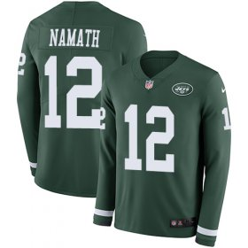 Wholesale Cheap Nike Jets #12 Joe Namath Green Team Color Men\'s Stitched NFL Limited Therma Long Sleeve Jersey