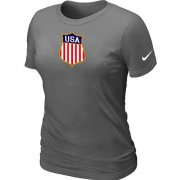 Wholesale Cheap Women's Nike Team USA Hockey Winter Olympics KO Collection Locker Room T-Shirt Dark Grey