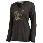 Wholesale Cheap Women's Milwaukee Brewers Gold Collection Long Sleeve V-Neck Tri-Blend T-Shirt Black