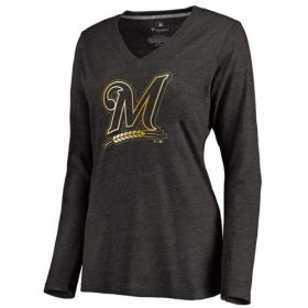 Wholesale Cheap Women\'s Milwaukee Brewers Gold Collection Long Sleeve V-Neck Tri-Blend T-Shirt Black