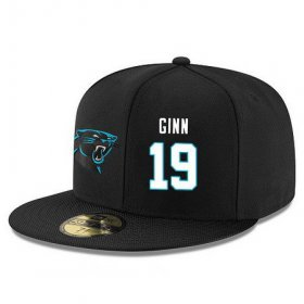 Wholesale Cheap Carolina Panthers #19 Ted Ginn Jr Snapback Cap NFL Player Black with White Number Stitched Hat