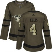 Wholesale Cheap Adidas Predators #4 Ryan Ellis Green Salute to Service Women's Stitched NHL Jersey