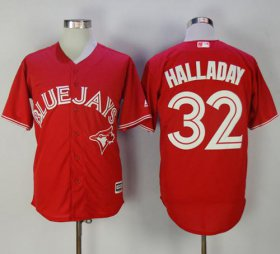 Wholesale Cheap Blue Jays #32 Roy Halladay Red New Cool Base Canada Day Stitched MLB Jersey
