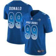 Wholesale Cheap Nike Rams #99 Aaron Donald Royal Youth Stitched NFL Limited NFC 2018 Pro Bowl Jersey