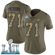 Wholesale Cheap Nike Eagles #71 Jason Peters Olive/Camo Super Bowl LII Women's Stitched NFL Limited 2017 Salute to Service Jersey