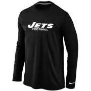 Wholesale Cheap Nike New York Jets Authentic Font Long Sleeve T-Shirt Black