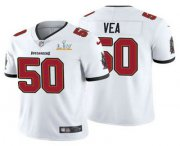 Wholesale Cheap Men's Tampa Bay Buccaneers #50 Vita Vea White 2021 Super Bowl LV Limited Stitched NFL Jersey
