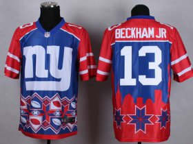 Wholesale Cheap Nike Giants #13 Odell Beckham Jr Blue Men\'s Stitched NFL Elite Noble Fashion Jersey
