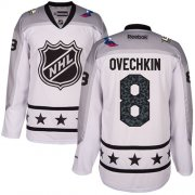 Wholesale Cheap Capitals #8 Alex Ovechkin White 2017 All-Star Metropolitan Division Women's Stitched NHL Jersey