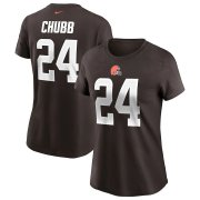 Wholesale Cheap Cleveland Browns #24 Nick Chubb Nike Women's Team Player Name & Number T-Shirt Brown