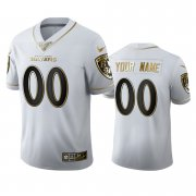 Wholesale Cheap Baltimore Ravens Custom Men's Nike White Golden Edition Vapor Limited NFL 100 Jersey