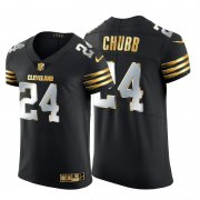 Wholesale Cheap Cleveland Browns #24 Nick Chubb Men's Nike Black Edition Vapor Untouchable Elite NFL Jersey