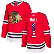 Wholesale Cheap Adidas Blackhawks #1 Glenn Hall Red Home Authentic USA Flag Stitched NHL Jersey