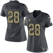 Wholesale Cheap Nike Vikings #28 Adrian Peterson Black Women's Stitched NFL Limited 2016 Salute To Service Jersey