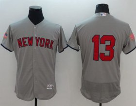 Wholesale Cheap Yankees #13 Alex Rodriguez Grey Fashion Stars & Stripes Flexbase Authentic Stitched MLB Jersey