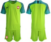 Wholesale Cheap Poland Blank Shiny Green Goalkeeper Soccer Country Jersey