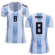 Wholesale Cheap Women's Argentina #8 Perez Home Soccer Country Jersey